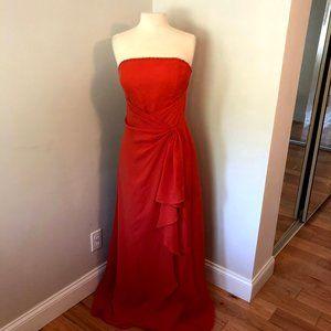 Jordan Orange Strapless Formal Prom Dress Size 10
